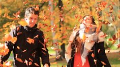Autumn nature, fall, leaves, happy, couple, colorfull, orange, yellow