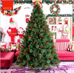 4/5/6/7/8/10/13ft Green Red Pinecone PVC Artificial Christmas Tree Free Shipping
