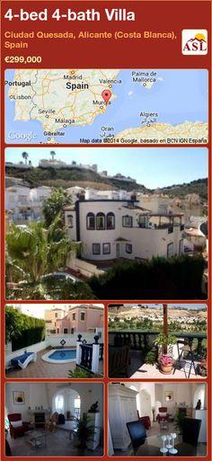 4-bed 4-bath Villa in Ciudad Quesada, Alicante (Costa Blanca), Spain ►€299,000 #PropertyForSaleInSpain