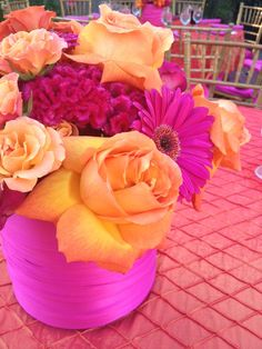 *My first same day coordination services were provided to a couple who used these colors as there theme for there beautiful Wedding!PInk and Orange Party.this could be purple and orange Rose Fushia, Orange Flowers, Pink Yellow, Orange Color, Hot Pink, Bright Yellow, Purple, Bright Colors, Orange Party