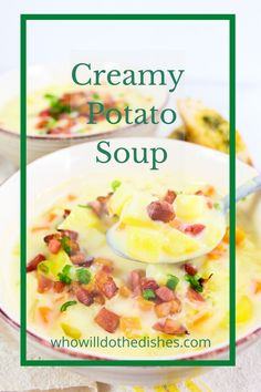 All you need in terms of products for this recipe is a few potatoes, some carrots, onions, garlic, milk, and chicken broth. No heavy cream is needed!     #soup #creamysoup #potato #potatosoup #bacon #quick