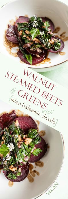 Produce On Parade - Walnut Steamed Beets & Greens with Miso Balsamic Drizzle - An easy and impressive side dish. Layered, sliced steamed beets are adorned with crunchy walnuts and their own sauteed greens, then drizzled with a miso balsamic reduction.