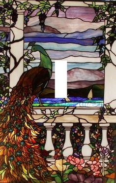 Stained Glass Peacock Light Switch Plate
