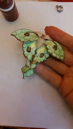 Polymer clay crafts - tutorial The Green Luna Moth necklace - Wonderful lime-green jewelry. For lovers of moth jewellery or nature in general. Many customers hav - Cute Polymer Clay, Polymer Clay Animals, Polymer Clay Flowers, Polymer Clay Pendant, Polymer Clay Projects, Polymer Clay Jewelry, Polymer Clay Tutorials, Sculpting Tutorials, Clay Clay
