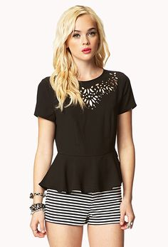 Baroque Cutout Peplum Blouse | FOREVER21 - 2041070598