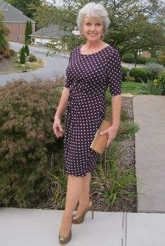 Another jersey wrap dress. Polka dots! This works very well because of the open scoop neck and defined waist.