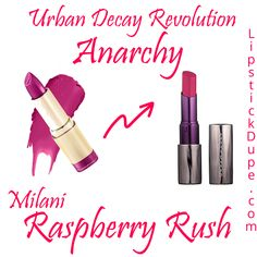 Urban Decay Revolution Lipstick Anarchy Dupe Milani Raspberry Rush