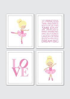 Ballerina Nursery Print Set of Ballerina Wall Art, Girls Room Decor, Baby Girl Nursery Wall Art, Ballerina Art, Ballerina Nursery Decor Nursery Prints, Nursery Wall Art, Girl Nursery, Nursery Decor, Ballerina Nursery, Ballerina Art, Art Rose, Art Prints Quotes, Quote Art
