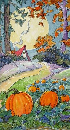 """That Old Pumpkin Moon Storybook Cottage Series"" - Original Fine Art for Sale - © Alida Akers"
