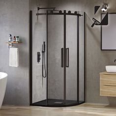 Make a splash with a super modern black shower screen! From a sliding black shower door to a full black shower enclosure, we have statement styles you'll love. Frameless Sliding Shower Doors, Sliding Doors, Tall Cabinet Storage, Locker Storage, Quadrant Shower Enclosures, Framed Shower Door, Sliding Door Design, Bathroom Fixtures, Bathrooms
