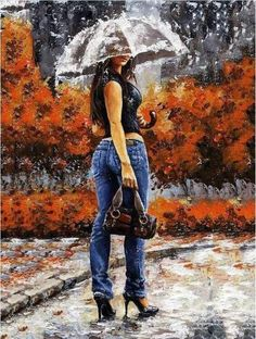Umbrella in the Rain Paint By Number Kit