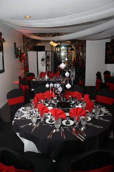 silver wedding anniversary decorating ideas | red black and white ...