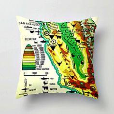 Map Pillow CALIFORNIA COAST
