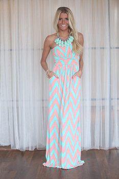 ashleynicole135's save of Sweet and Sour Chevron Maxi Dress on Wanelo