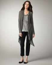 Eileen Fisher: Long Ruffled Cardigan, Tinted Sateen Shell, Slim Ankle Pants