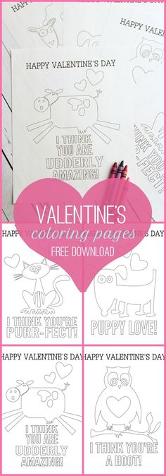 free printable Valentine's Day coloring pages for kids - a fun idea for classroom valentines