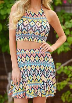 Colorful two piece outfit