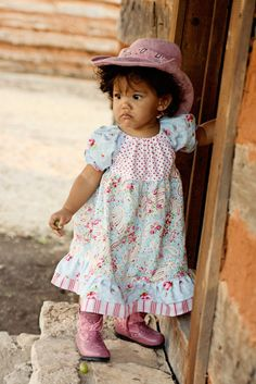 Vintage Cowgirl Peasant Dress  Size 3T Ready To by embellishkids