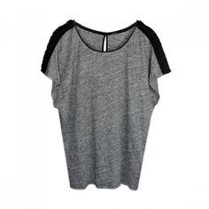 T-Shirt en lin chiné et galon fantaisie