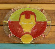 Plato súper héroes Ironman vitrofusion - fused glass - fusing medida: 24 cm Espesor: 6 mm