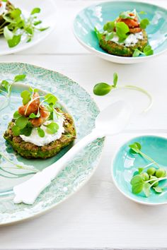 Pea Cakes & Grilled Asparagus
