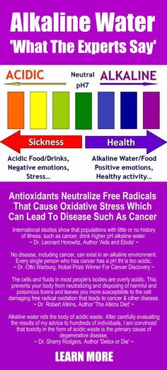WHAT THE EXPERTS SAY ABOUT ALKALINE WATER. Antioxidants neutralize free radicals that cause oxidative stress which can lead to disease such as cancer. Learn more about hydrogen rich, antioxidant loaded, ionized Kangen Water; the world's healthiest, most hydrating water. The pH of your body matters. Change your water, change your life. #Kangen #Alkaline #Antioxidant #Water #Health #Benefits