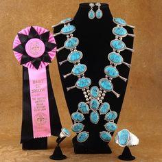 This is a magnificent, one-of-a-kind complete jewelry set that you will never find anywhere else! This exquisite Vintage Squash Blossom Necklace Set features an amazing inlaid arrangement of Genuine Bisbee ll Turquoise surrounded by precious Sterling Silver. Each Bisbee ll Turquoise stone has been hand inlaid into an intricate puzzle that is sure to amaze! $5000.00 #Alltribes