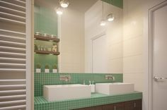 Stunning Young Family Apartment Bathroom with Green Tiled Backsplash Working with Wooden Vanity with Double White Sinks