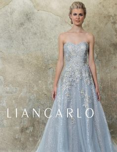 0a2d52fa3ba4 Liancarlo Evening Dress - Style 5530 - Floral embroidery on tulle over  sequins strapless ball gown
