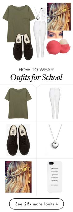 """school is almost out"" by loveablegirl-774 on Polyvore featuring rag & bone/JEAN, Topshop, Vans, Eos and Pandora"