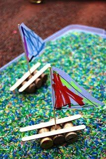 Another cute kids boat craft with wine corks and popsicle sticks.