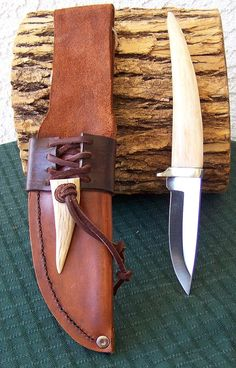 deer Antler Knife and Custom Sheath Great Fathers Day gift
