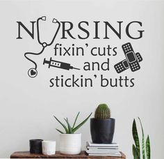 Nursing Fixing Cuts Bandaid Nurse Quote Vinyl Wall Lettering Decal