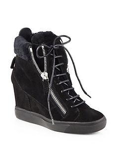 best loved 90e9e 498bb Giuseppe Zanotti - Shearling-Trimmed Suede Platform Wedge Sneakers
