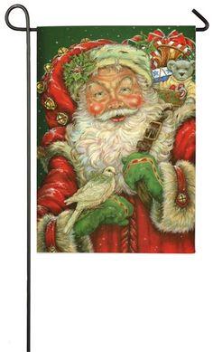 """Traditional Jolly Santa Claus Christmas Garden Flag Porch 12.5"""" x 18""""  Evergreen #Evergreen"""