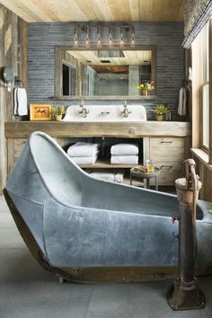 Showpiece is this antique 1880s galvanized tub that has been fitted with modern fixtures!