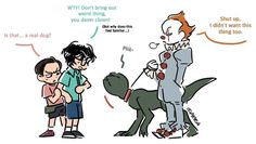 Pennywise and the Demidog Funny Horror, Horror Art, Horror Movies, Chucky, Best Crossover, It The Clown Movie, Le Clown, Pennywise The Dancing Clown, Im A Loser