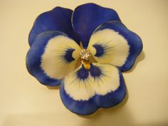 14K Enameled Diamond Pansy Brooch Pin Pendant and matching Earrings #Unbranded