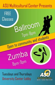 Zumba and Ballroom Dance Classes have begun. Join us every Tuesday and Thursday!!!