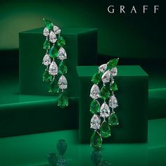 """Over 23 carats of perfect pear Emeralds and Diamonds. """"A pear shape stone from Graff is both rare and special. Graff Jewelry, Ear Jewelry, High Jewelry, Luxury Jewelry, Jewlery, Emerald Earrings, Emerald Jewelry, Diamond Jewelry, Faberge Eier"""