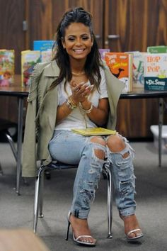 Christina Milian in ripped jeans #christina #jeans #celebrity #hot #sexy #wear #legs