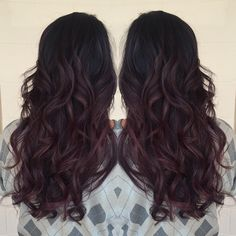 Last one for the night, red wine balayage ombre. Please visit keannehair.com for booking info and openings!