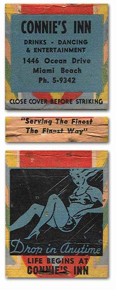 Connie's Inn #Matchcover To order your Business' own branded #matchbooks or #matchboxes GoTo: www.Getmatches.com or CALL 800.605.7331 Today!