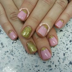 Gold Half moon, with the nude pink nails