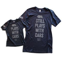 Get these shirts while they're in stock. Like the car-guys that wear them, these shirts are going fast.  • Printed in antique white on navy • Supremely soft pr