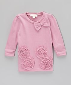 Loving this Pink Ruffle Rose Tunic - Infant, Toddler & Girls on #zulily! #zulilyfinds