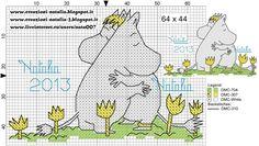 "Photo from album ""Schemi - Natalia/ Схемы - Natalia"" on Yandex. Diy Embroidery, Cross Stitch Embroidery, Embroidery Patterns, Knitting Charts, Knitting Patterns, Cross Stitch Designs, Cross Stitch Patterns, Les Moomins, Cross Stitch Baby"