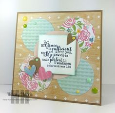 Handmade card by Hillary Harris using the 2 Corinthians 12:9 plain jane from Verve. #vervestamps #faithstamping