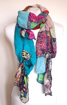 Cenozoic, silk upcycled scarf, 195 x 30 cm. Clothing And Textile, Upcycled Clothing, Diy Scarf, Textiles, Diy Fashion, Fashion Design, Vintage Wool, Silk Scarves, Sewing Clothes