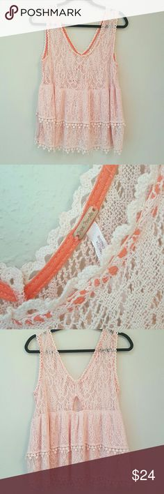 [Free People] ?Lacey? Crochet Style Tank Very cute! Top is a bit sheer but would look great with a bralette or cami under. Material is a lacey (not real lace) and has a crochet look. Small keyhole detail on back of top. In great used condition.   Reasonable offers are always welcome! Would love to hear from you! Thanks for looking! Free People Tops Tank Tops